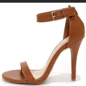 Anne Michelle Nude stiletto heels with ankle strap